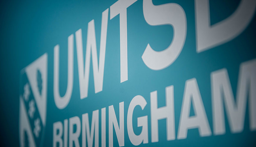 UWTSD Birmingham Reception Sign