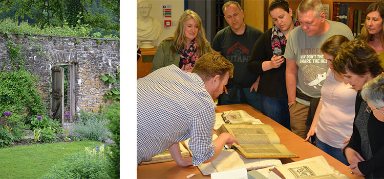 aberglasney & students with ancient manuscript