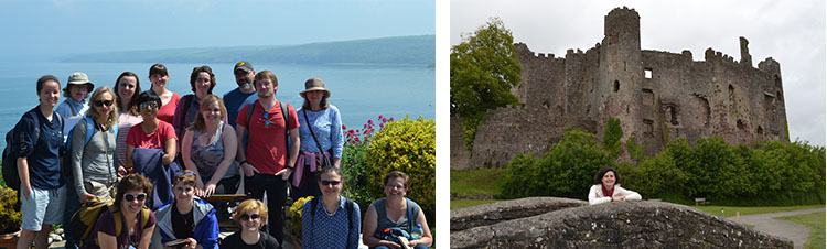 students on a cliff & in front of a castle  750x226
