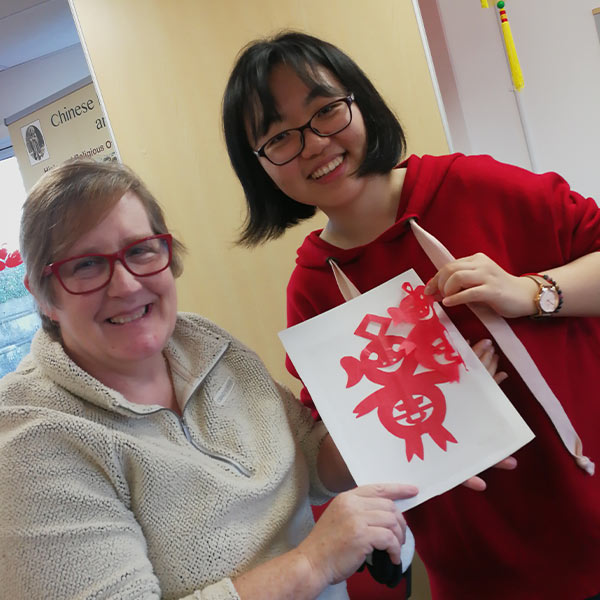 Student and teacher on a Chinese new year