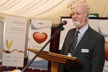 Professor Andy Penaluna accepts his award at the House of Lords