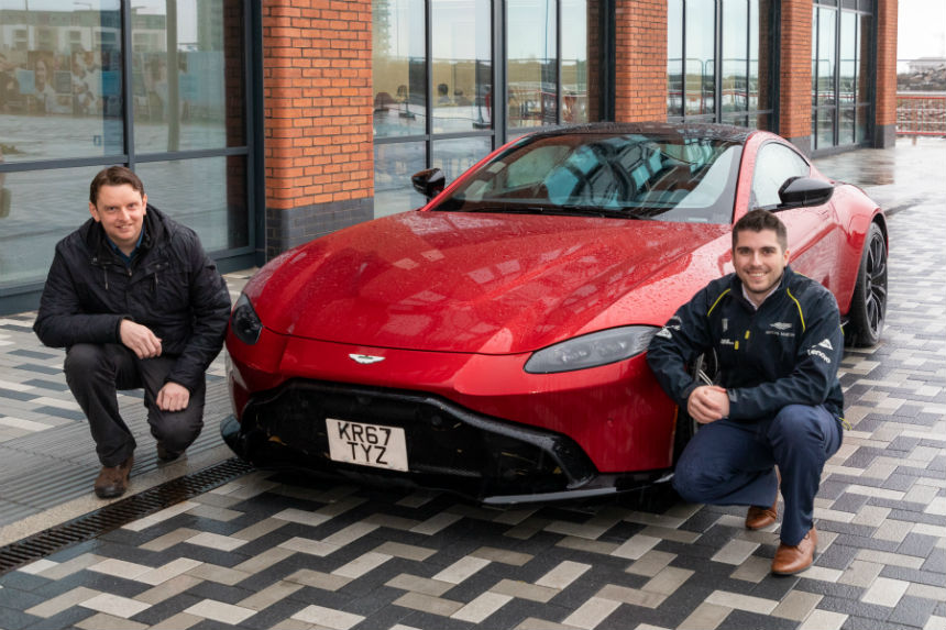 Barry Meacham, UWTSD BSc Motorsport engineering graduate and Aston Martin's Body Structures Engineer Gareth Jones