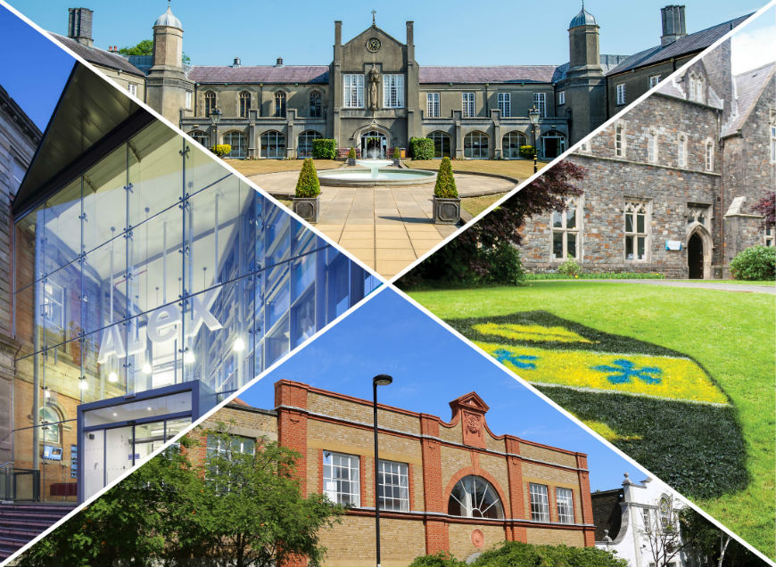 compilation image of UWTSD Carmarthen, Lampeter, Swansea and London