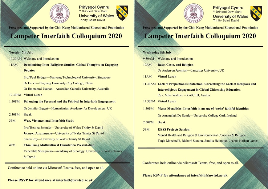 Posters for the  Lampeter Interfaith 2020 Conference