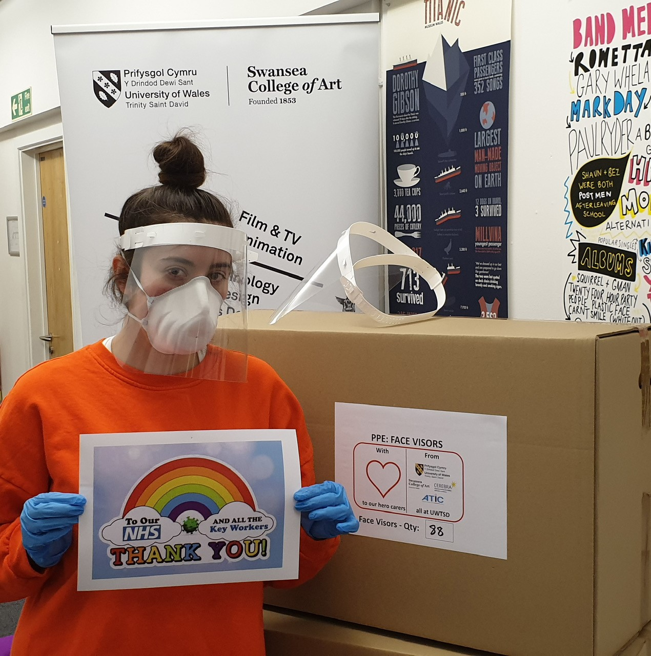Artists and designers from the University's Swansea College of Art have turned their creativity to help the national fight against Covid-19. They have teamed up with children's charity, Cerebra, to produce essential face visors for distribution to the care sector.