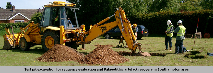 Test pit excavation for sequence evaluation and Palaeolithic artefact recovery in Southampton area